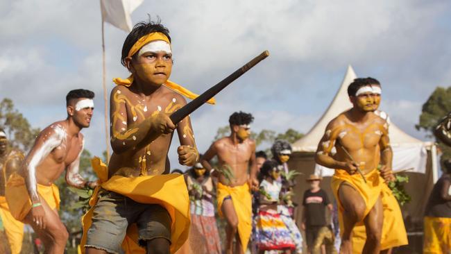 Members of the Gumatj clan perform bunggul (ceremonial dancing) at the annual Garma Festival in northeast Arnhem Land. Picture: Melanie Faith Dove/Yothu Yindi Foundation